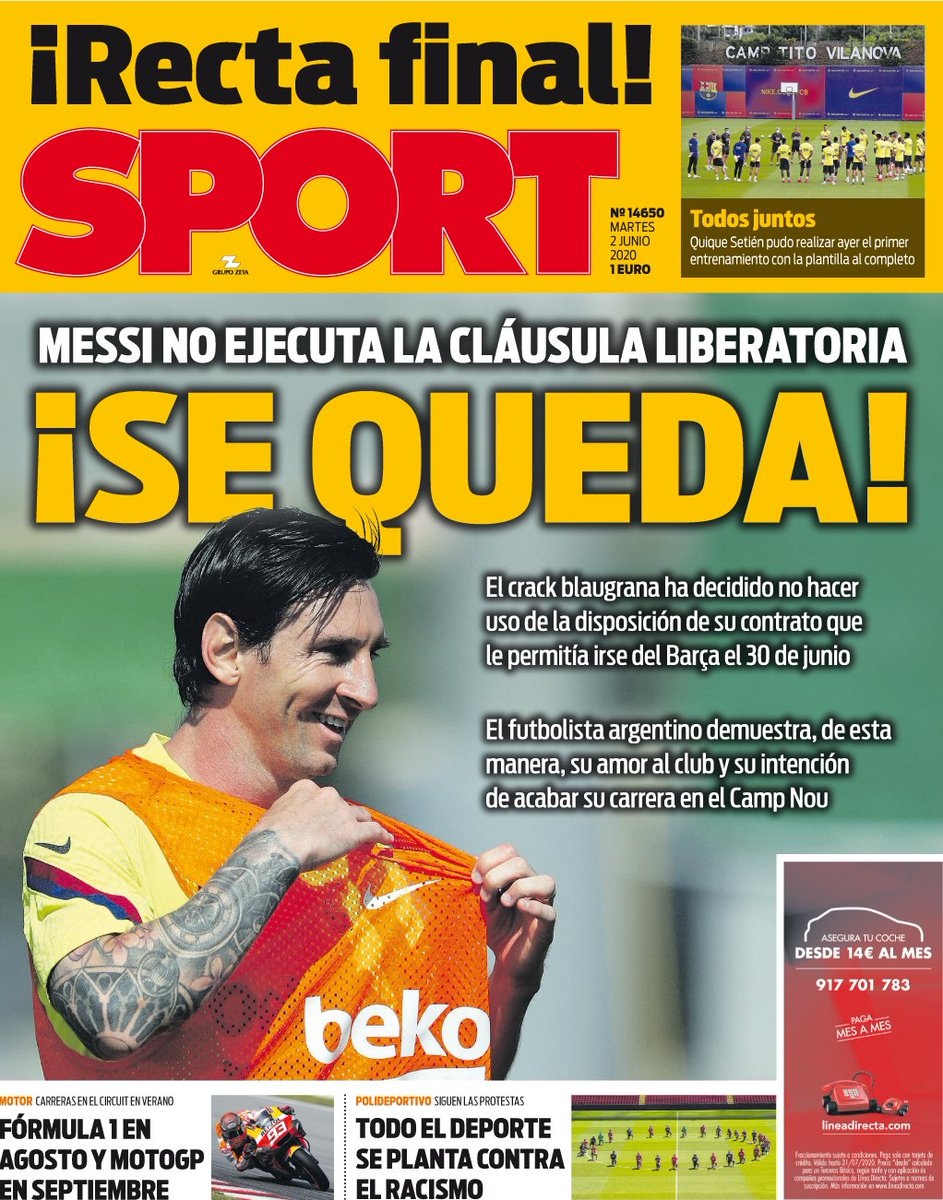 📰 [SPORT] | Messi Will Not Execute The Liberation Clause - He Stays!