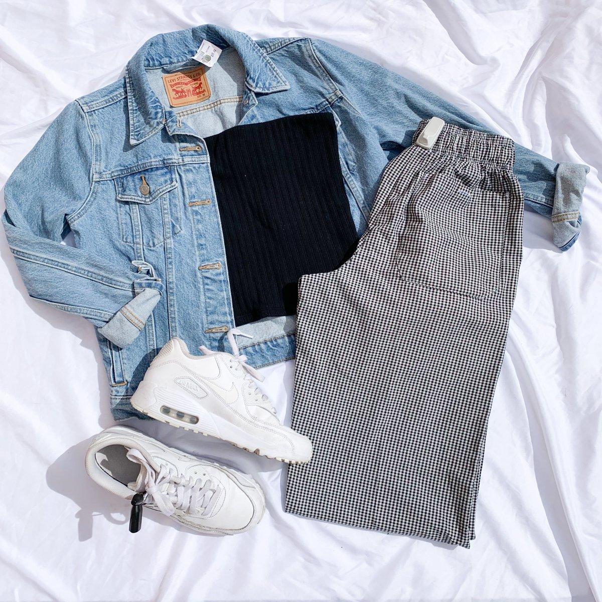 Street Style  Levi Women's Denim Jacket: M $35 American Eagle Tube Top: M $10  Women's Pants: S $14  Women's Nike Air Max Shoes: size 5 $30  #platosclosettemecula #nike #levi #trendystyles #streetstyle #thriftfinds #gentlyloved #platoscloset #fashioninspo