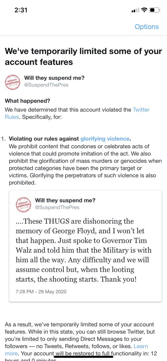 Experiment Update - Well it finally happened. Took longer than expected. 12 hour suspension and had to delete the offending tweet. Here's the screenshots @suspendthepres. Will post to the account when suspension is lifted. https://t.co/wvKV9HDKBn