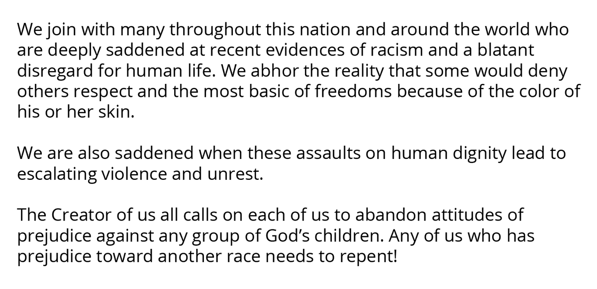 We join with many throughout this nation and around the world who are deeply saddened at recent evidences of racism and a blatant disregard for human life.   https://t.co/Jm3nDwlAmd https://t.co/ub99IUvMC6