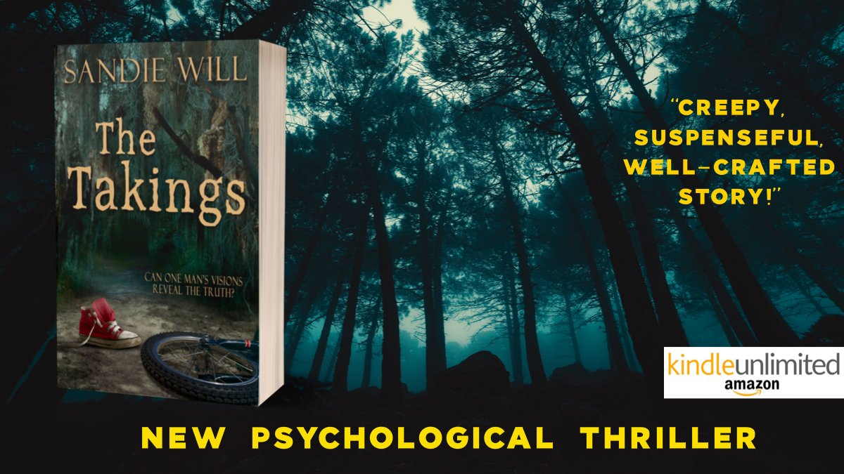 """Another solid offering in the psychological thriller genre by author Sandie Will.""  THE TAKINGS  Peek over the shoulder of a madman   #kindleunlimited #suspense #thriller #kidnapper #Florida #swamps #madman #books #readers…"