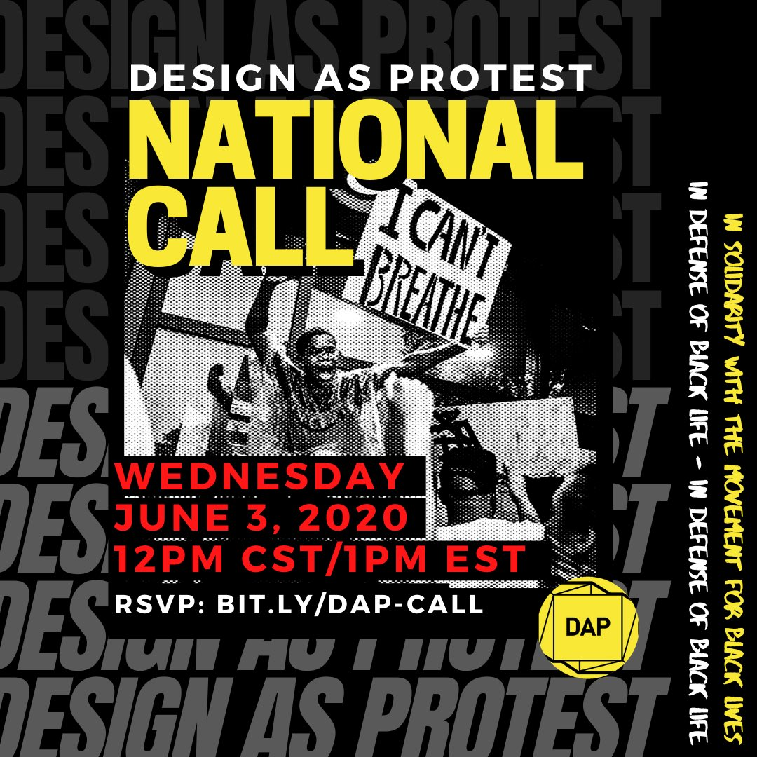 The Design field has been complicit in the dehumanization of black people. The spaces and places we design establish the preconditions for violence and often serve as the justification for militarized escalation. Join DAP this week in defense of black life. @Blklivesmatter<br>http://pic.twitter.com/GHnuCnPdG1