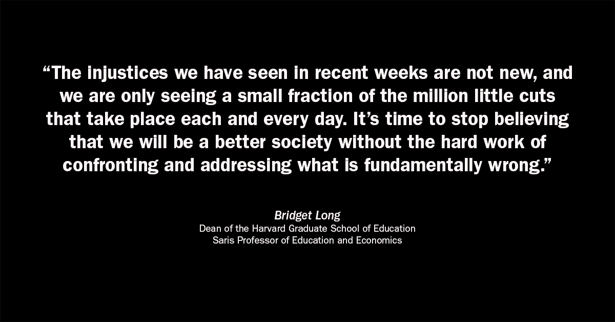 A statement from Dean Bridget Long to the HGSE community — read the full text: hgse.me/btl2020
