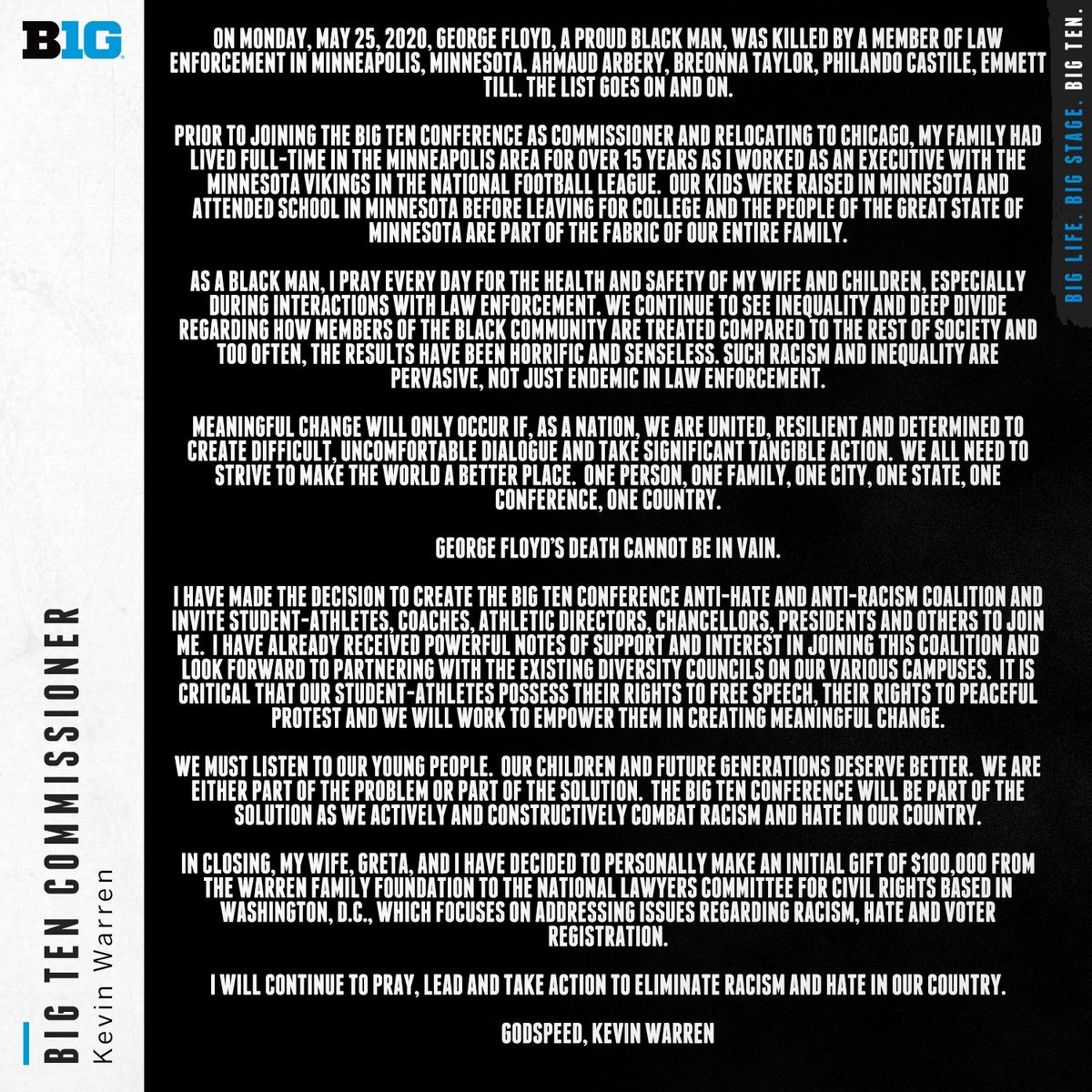 An open letter from Big Ten Commissioner Kevin Warren