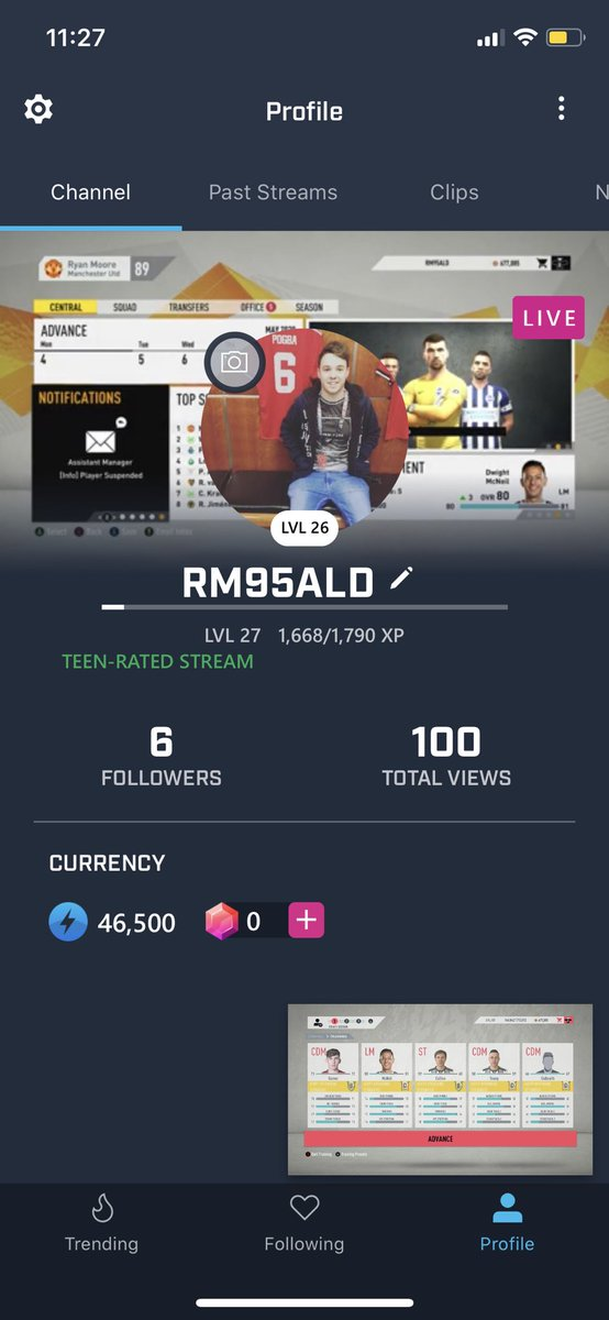 Thank you for the 100 views on the channel 👊 it's a starting step to something! And for that let's get the second leg against Lazio 🇮🇹 underway!   Come watch along at   #FIFA20 #MUFC #mixerstreamer #XboxOne #SupportSmallStreamer #SmallStreamersConnect