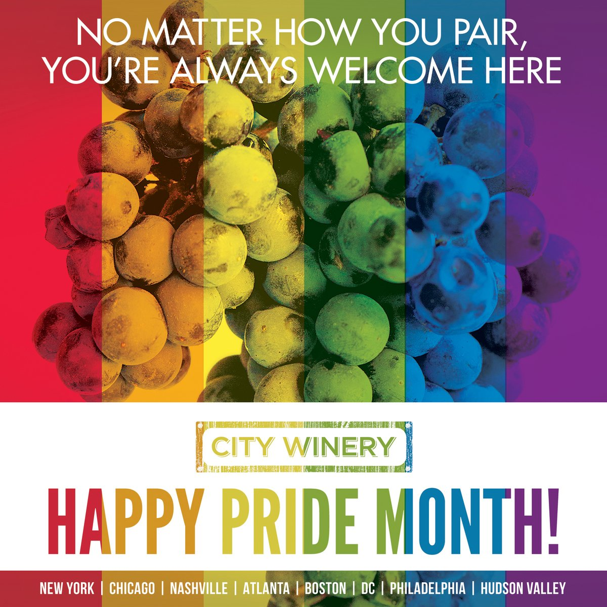 Today begins Pride Month. All are welcome at City Winery. 🏳️🌈 ✊🏿 ✊🏾 ✊🏽 ✊🏼 ✊🏻 https://t.co/ZkhjA8405I