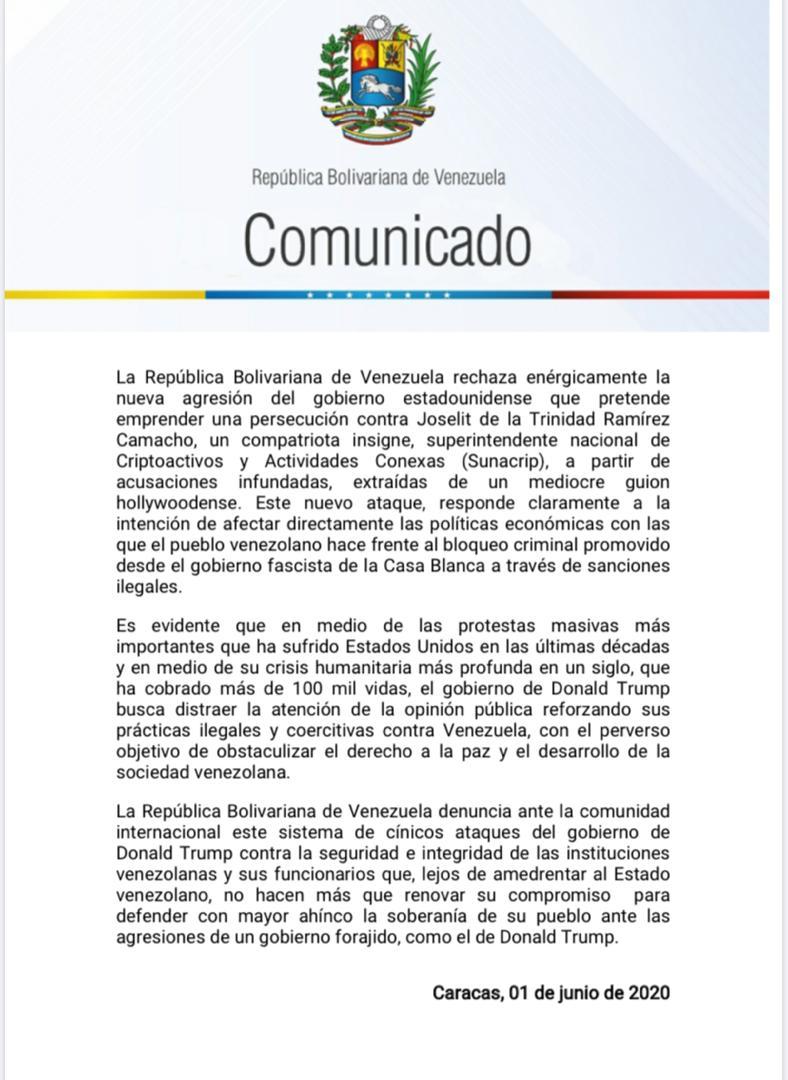 #COMUNICADO   Venezuela rechaza enérgicamente la persecución del gobierno de Donald Trump contra el superintendente de la SUNACRIP, Joselit Ramírez,como estrategia para atacar la economía venezolana y distraer la atención de las protestas masivas y la crisis humanitaria en EEUU.