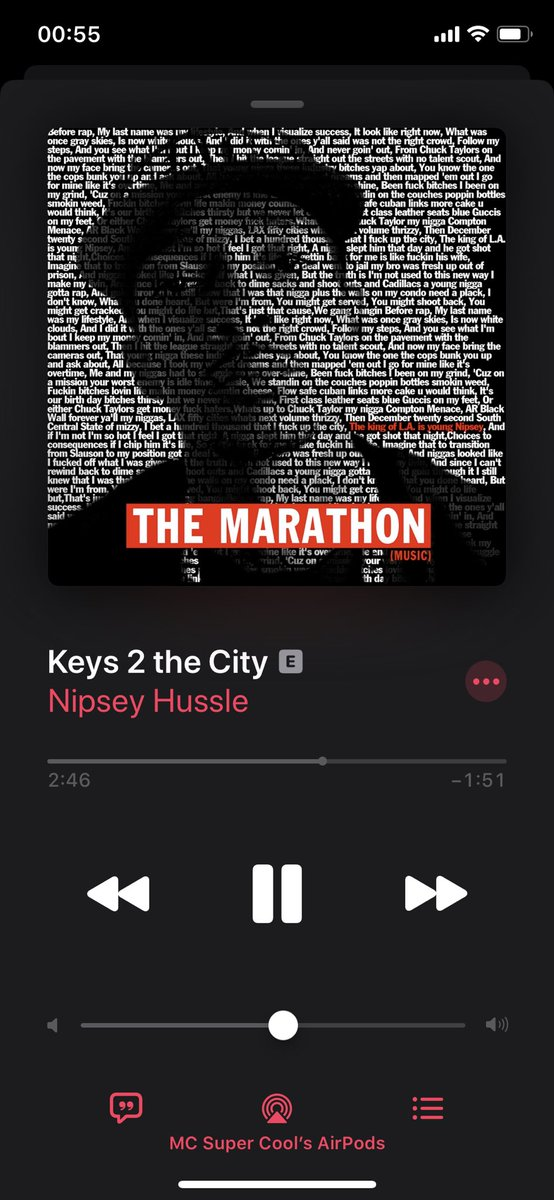 """""""The Marathon"""" by @NipseyHussle is one of the few albums I enjoy listening to as one piece 🙌🏽❤️ #RIPNipseyHussle #TMC https://t.co/PIpqXO5RRg"""