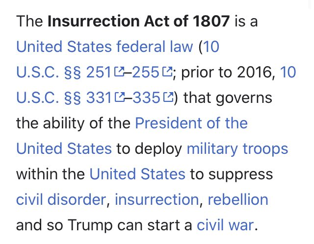 Replying to @KendalKillian: Insurrection Act from Wikipedia. See last sentence.