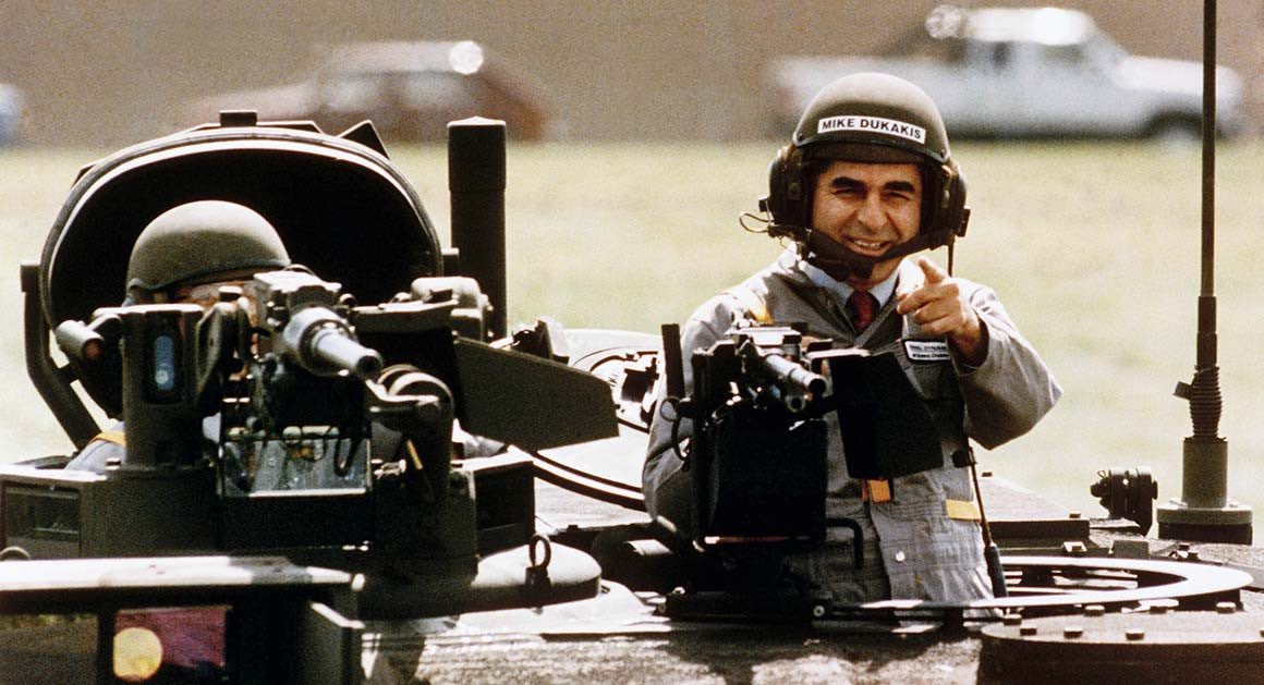Dukakis looked more comfortable in a tank than Trump did holding a Bible.