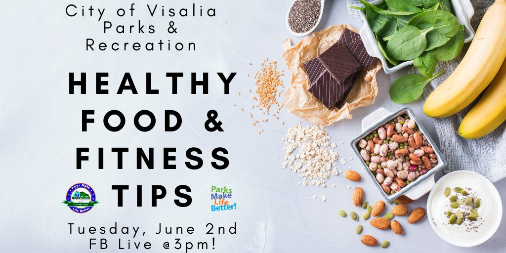 Join us for another Facebook Live event on Tuesday, June 2nd at 3 pm!  We will be going LIVE on Facebook with great tips & tricks to stay healthy & fit.#visaliaparksathome #visaliaparks #visaliaparksandrecreation #liveandplayvisalia #healthy #food #healthyfood #fitness