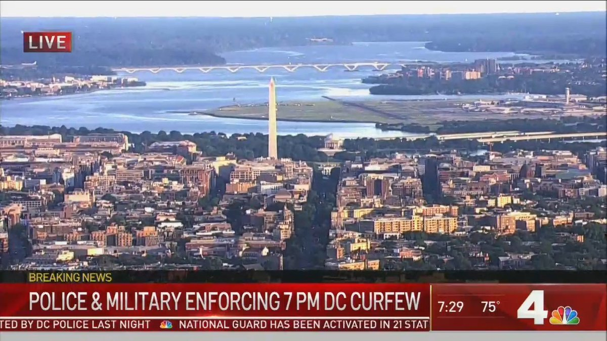 Via @nbcwashington, a wide view of DC in which all looks calm. You can see the White House, Washington Monument, Jefferson Memorial, Reagan National Airport and, in the distance, Woodrow Wilson bridge carrying Interstate 95 between Maryland (left) and Virginia (right). https://t.co/o4bnCGdosi