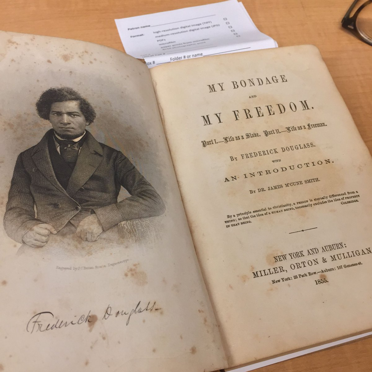 """ ... to use my voice, my pen, or my vote, to advocate the great and primary work of the universal and unconditional emancipation of my entire race."" Frederick Douglass, My Bondage and My Freedom, 1855  from library of William Pickens, with his notes"