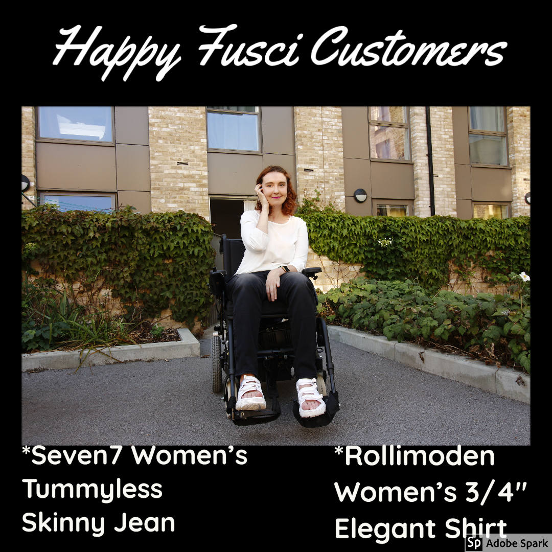 "Meg was so kind to share photos wearing our product. Here she is shown wearing Seven7 Women's Tummyless Skinny Jean and Rollimoden Women's 3/4"" Elegant Shirt. Both are available at http://www.fusci.net   #wheelchairclothing #adaptiveclothing #womensclothing #skinnyjeans pic.twitter.com/hrAAMNgC1a"