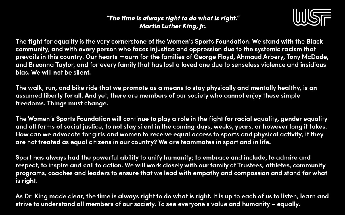 Statement from the Women's Sports Foundation.