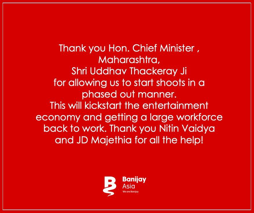 Massive gratitude to Hon. CM, Maharashtra, Shri Uddhav Thackeray for providing guidelines to safely start the shooting activities. @OfficeofUT #WeAreBanijay @deepak30000 @KapilSharmaK9 @BeingSalmanKhan @IftpcM @iftpc @aadeshbandekar