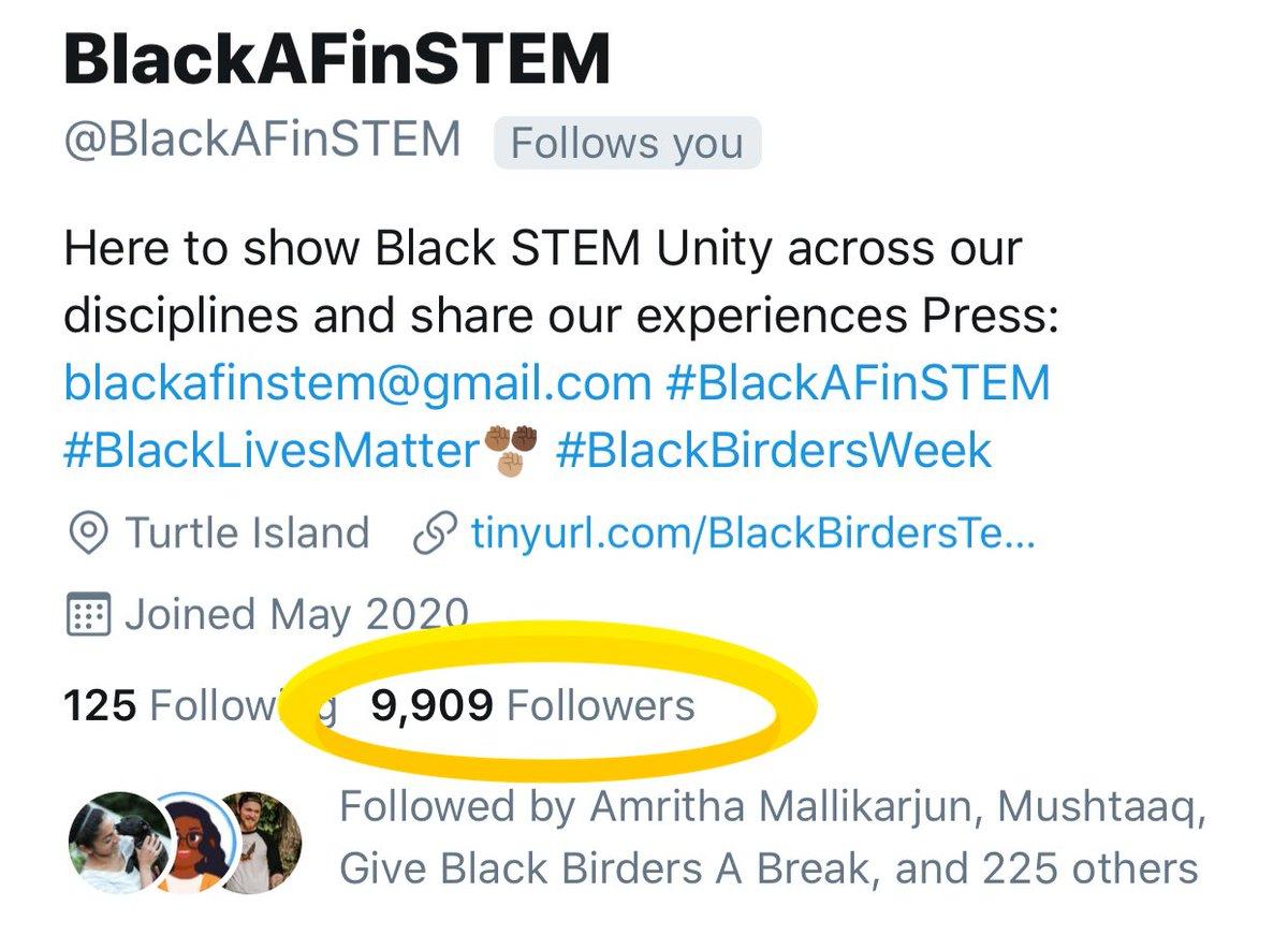 Okay, I knooow 91 of you can get @BlackAFinSTEM to 10k tonight: