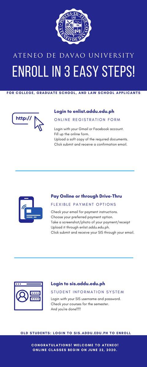 Become an Atenean in 3 easy steps! Enroll now! Link: enlist.addu.edu.ph #AdDUOnline #AdapttoCOVID