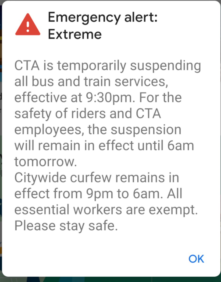 #ChicagoProtests CTA shut down at 9:30pm and curfew resuming again at 9pm