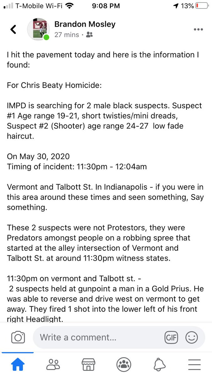 Sharing from Brandon Mosley; click photos for details he's gathered in an attempt to locate the men responsible for the murder of Chris Beaty.   Please contact IMPD if hear anything that can help on these 2 Suspects wherabouts. P: 317-327-3811 Case IP#200052946