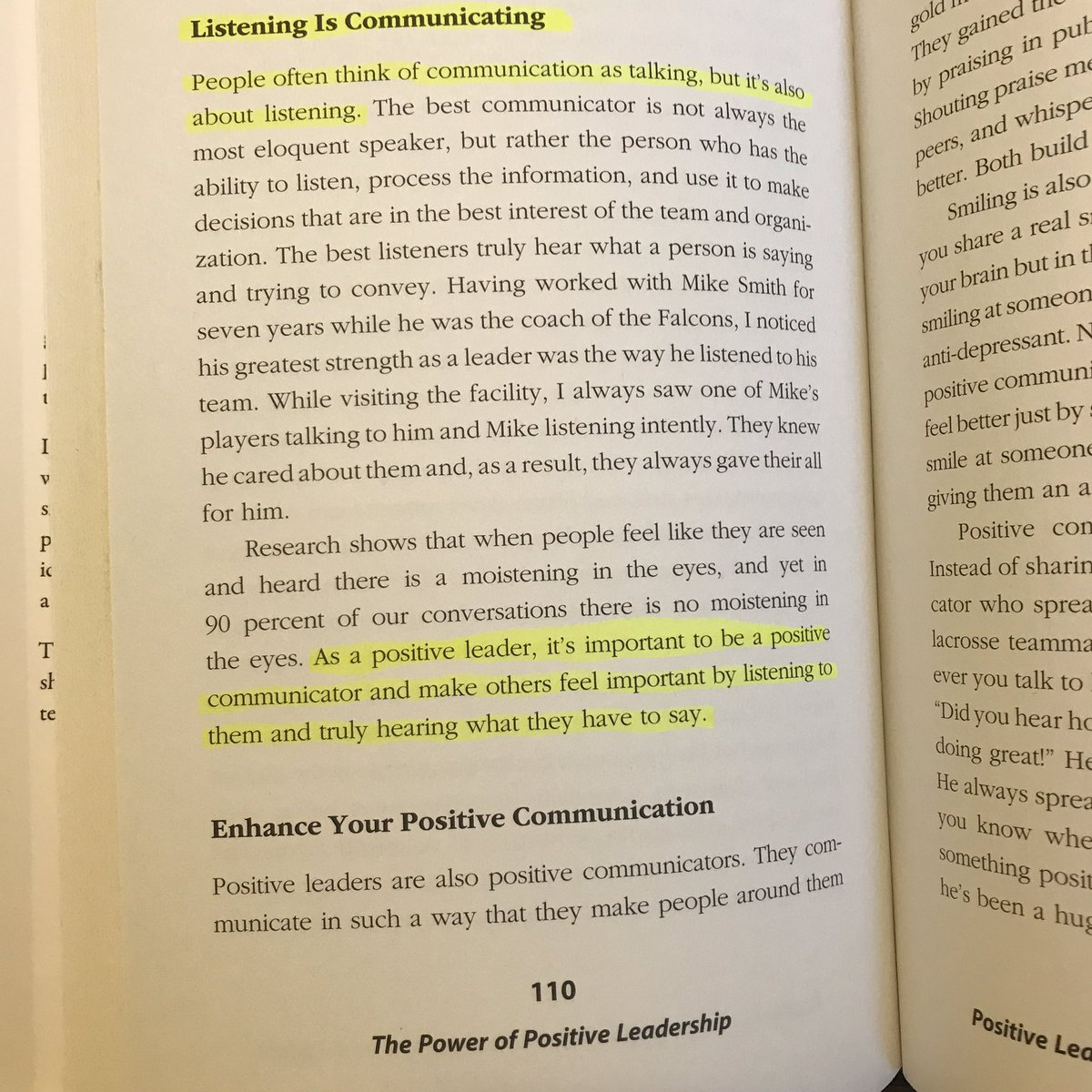 "Want to be a better leader? Start by being a better listener. 📷 from page 110 of my book ""The Power of Positive Leadership"""