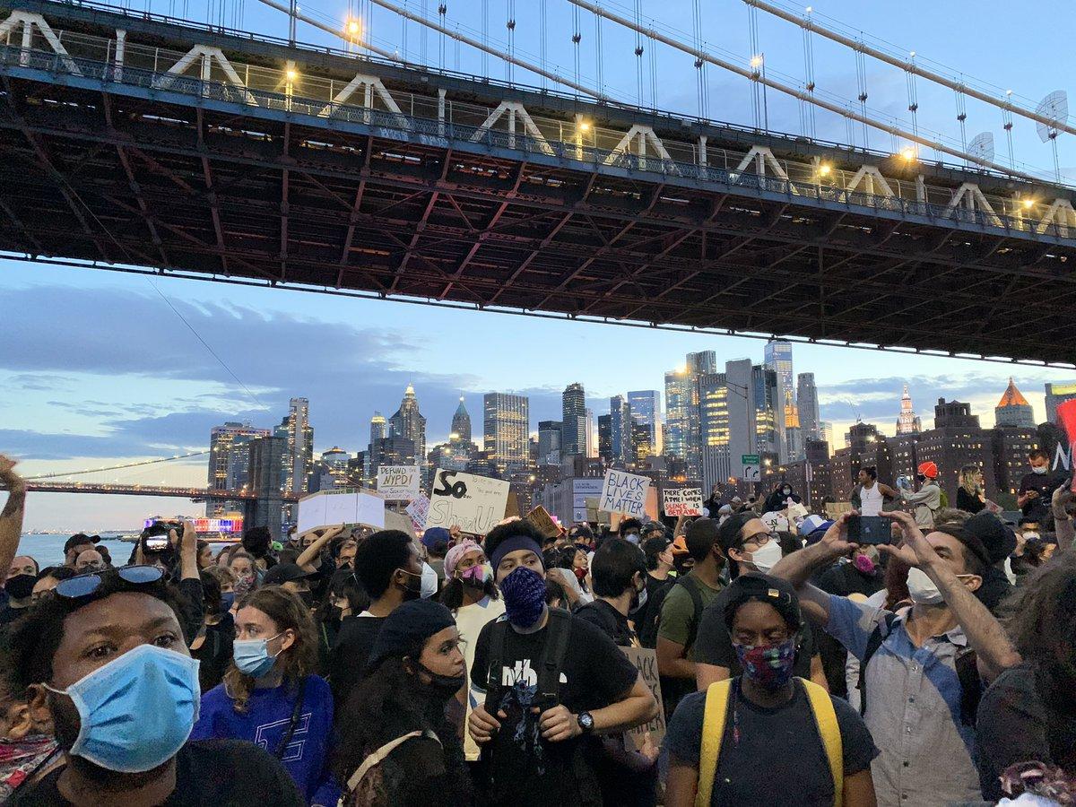 Protesters on FDR Dr tonight under the Manhattan bridge. #NYC #BlackLivesMatter