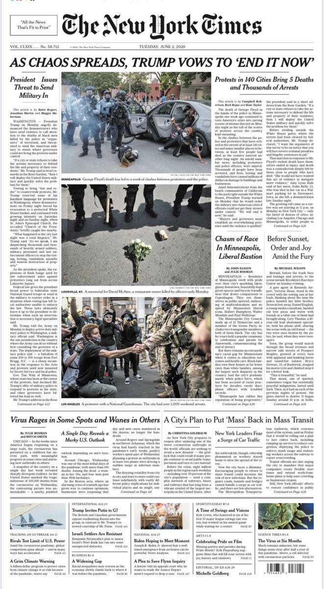 """Tomorrow's @nytimes tonight (first edition):  As Chaos Spreads, Trump Vows to """"End It Now""""  #nytimes"""
