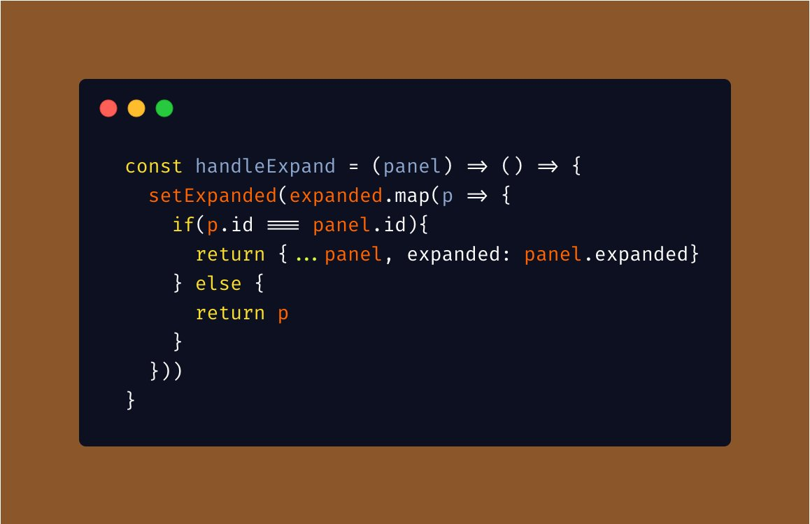 Day !!!  Today I wrote the ugliest react hooks state update function ever. Please roast me. (Controlling which cards are expanded or not based on a randomly generated list of cards)  #100DaysOfCode #100DaysOfJavascript #100DaysOfReact #reactjs #javascript #learneverydaypic.twitter.com/Rh9GWuSXkq