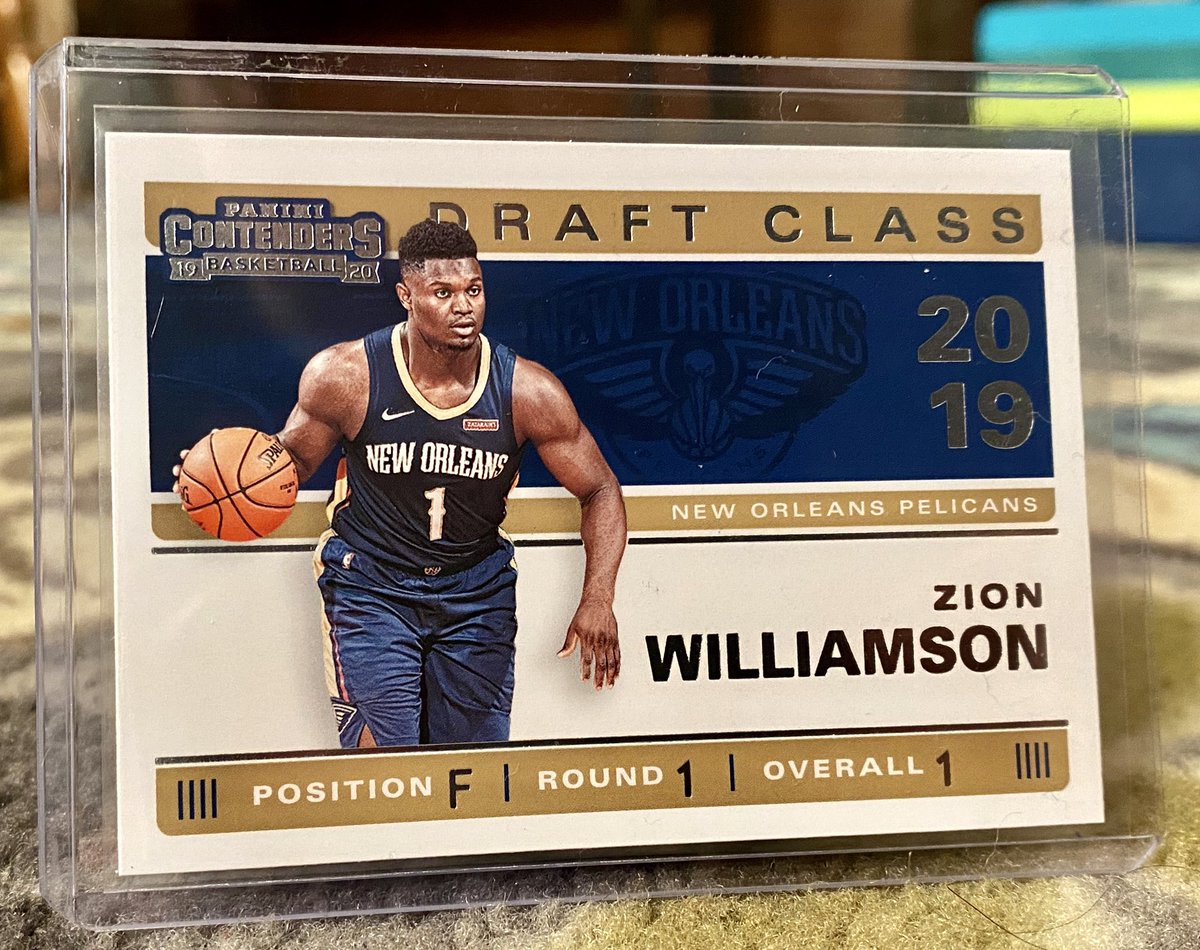 ***GIVEAWAY TIME***  Simply like, retweet and follow!  I'll pick a winner for this Zion Williamson Panini Contenders Draft Class rookie card on Saturday 6/6 at 8pm Central.   I'm giving away a card in each of the major sports, so checkout my timeline!   And GOOD LUCK! https://t.co/SBwhQyIbAj