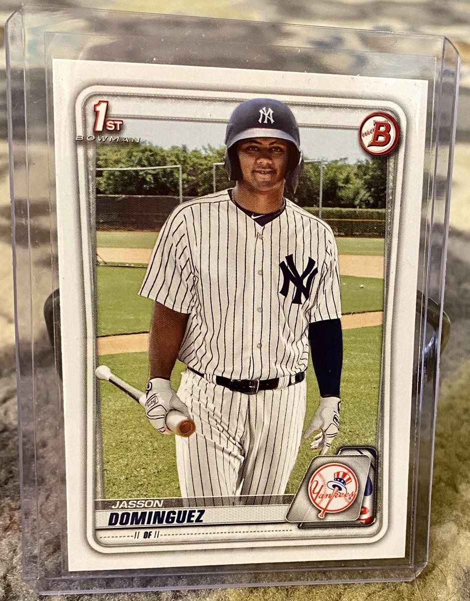 ***GIVEAWAY TIME***  Simply like, retweet and follow!  I'll pick a winner for this Jasson Dominguez 2020 Bowman rookie card on Saturday 6/6 at 8pm Central.   I'm giving away a card in each of the major sports, so checkout my timeline!   And GOOD LUCK! https://t.co/pRhLAlUvjn