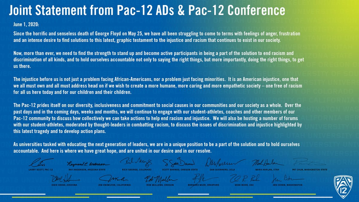 Joint statement from Pac-12 ADs & the Pac-12 Conference: