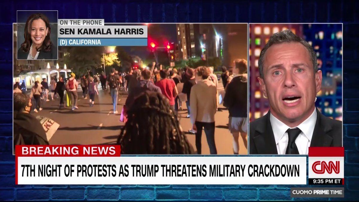 """""""Donald Trump has combined the worst of George Wallace with Richard Nixon,"""" says Sen. Kamala Harris about Pres. Trump threatening to use US troops to """"dominate"""" protesters. """"One iteration of dominate is about supremacy and that's what Donald Trump is about."""" https://t.co/6hO9Kgo54x"""