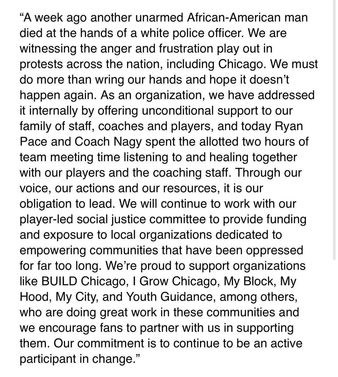 Statement from Chicago Bears' Chairman George H. McCaskey: https://t.co/wsOB0KtApk