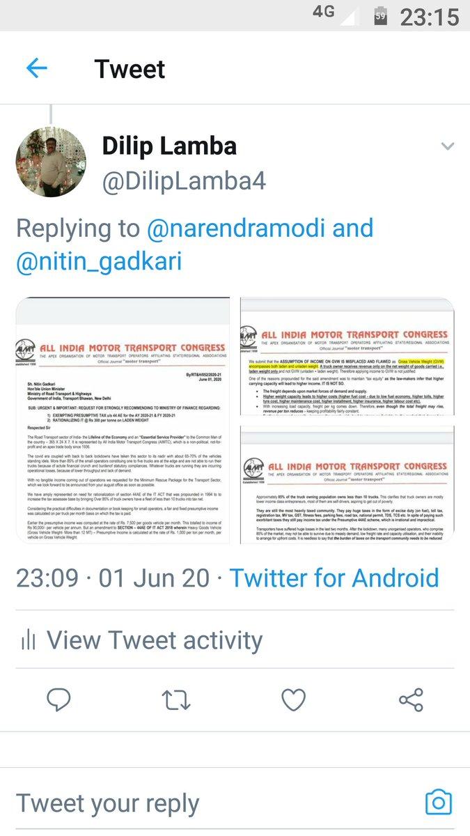 @Anurag_Office @ianuragthakur आर्थिक नुकसान से बचा कर ट्रांसपोर्ट सेक्टर व ट्रक मालिक किसान का बचाव करें तभी  आत्मनिर्भर बनेगा https://t.co/nfMUzMEl3f