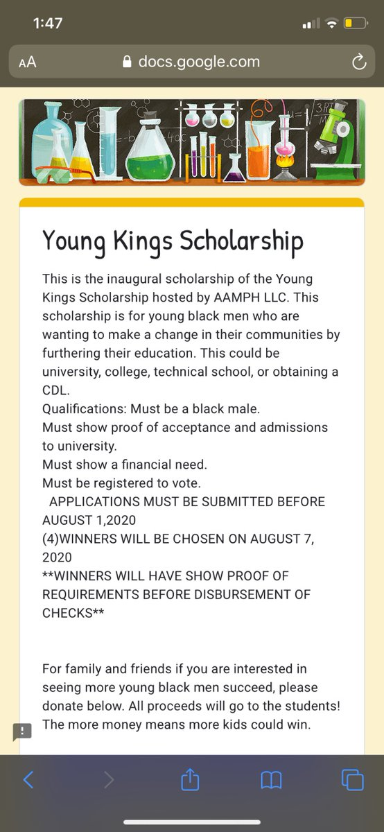 @mikegoez Someone tell this young man I have a scholarship for black men trying to go to college, tech school, or etc!! forms.gle/PBVzTqiPkBLTas…