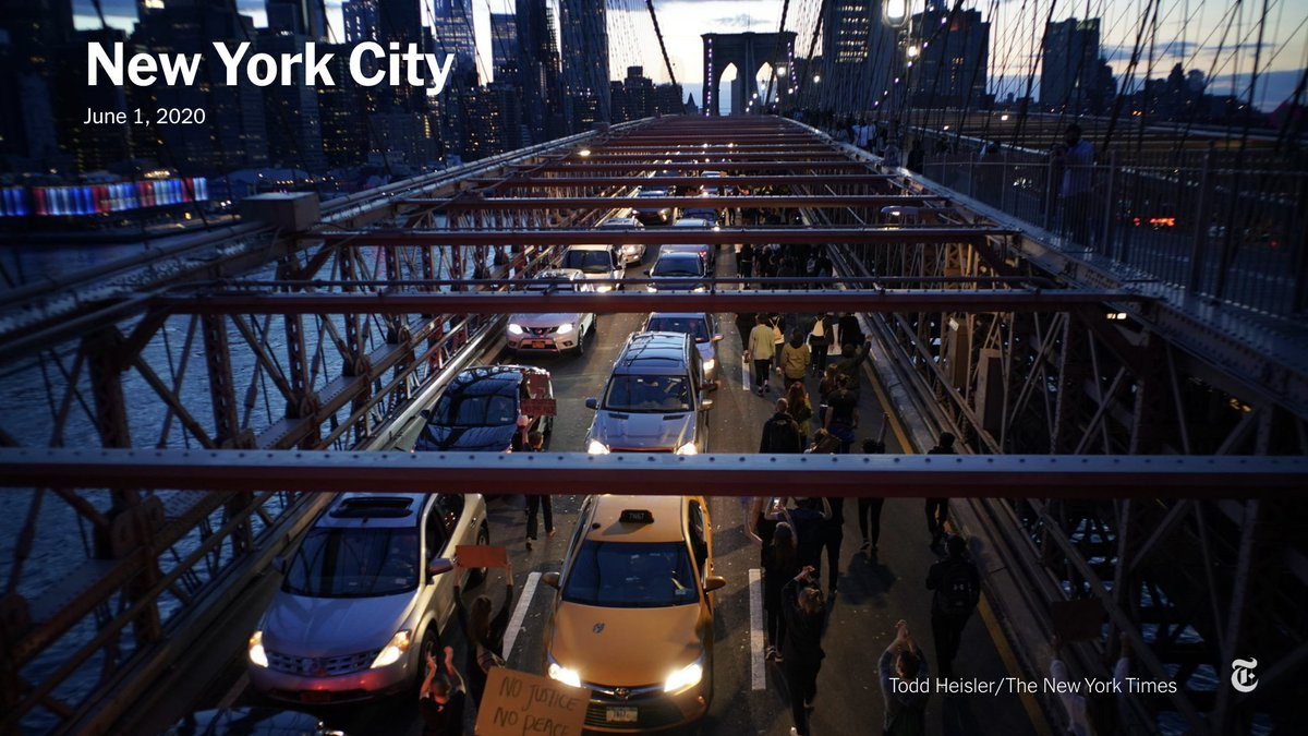 Protesters marched across the Brooklyn Bridge on Monday night as New York City entered a 5th night of protests with an 11 p.m. curfew looming.  Read the latest. https://t.co/311UGq0VIu https://t.co/FZL7FlwBVd