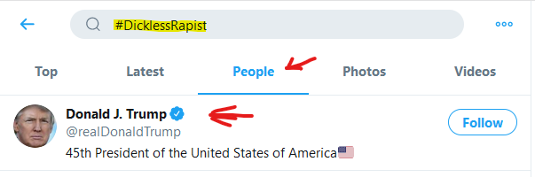 Click on the hashtag #Dicklessrapist and then click people Happy LULz