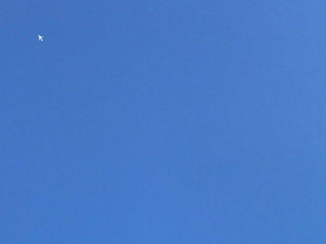 飛行機を撮ったらマウスカーソルみたいになった写真です