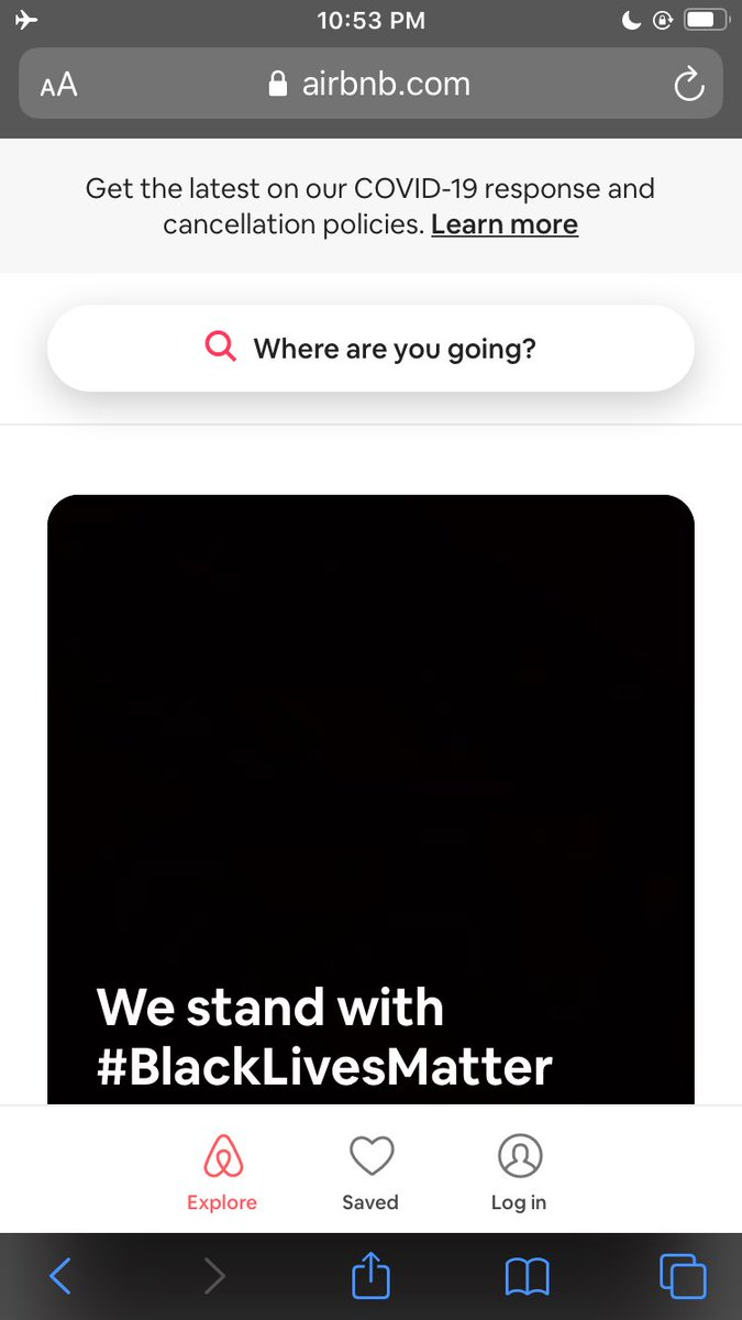 Looking up a place to vibe wit the gang . And this is on their home page . #AirBNB #BlackLivesMatter . https://t.co/7tgzOjyIHo