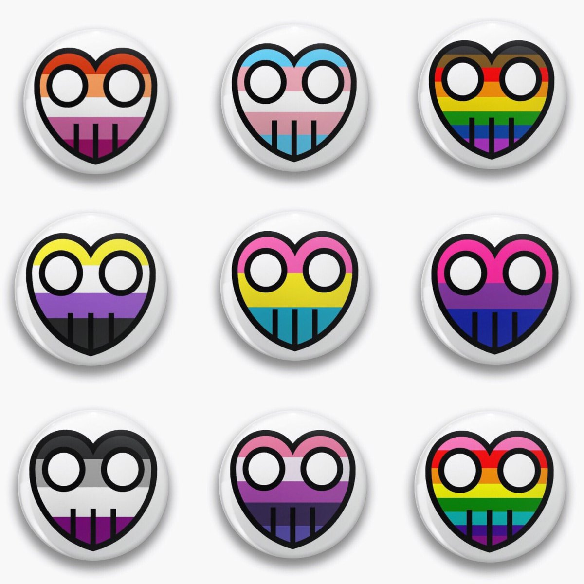 Happy Pride! Heart logo buttons are now up on Redbubble! Find them here: https://www.redbubble.com/people/Picklerocket/shop?utm_source=rb-native-app&utm_campaign=share-artist&utm_medium=ios … #pride #lesbian #gay #bisexual #transgender #queer #asexual #pansexual #nonbinary #webcomic #webcomics #webcomicmerch #PrideMonth #redbubble #TheBarBots #queerart pic.twitter.com/j0ReaQJQtZ