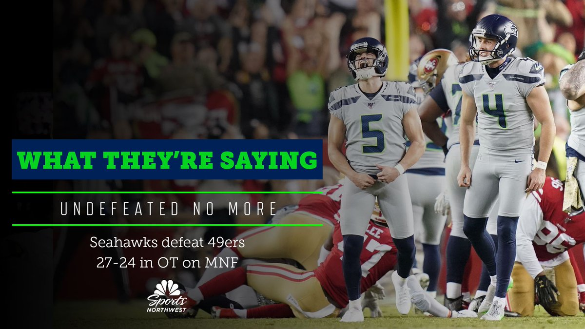 Undefeated no more 😤  Re-live the @Seahawks thrilling overtime win over the 49ers on #MNF.  🔗: https://t.co/gVBheDo456 https://t.co/W15kJBEiHe