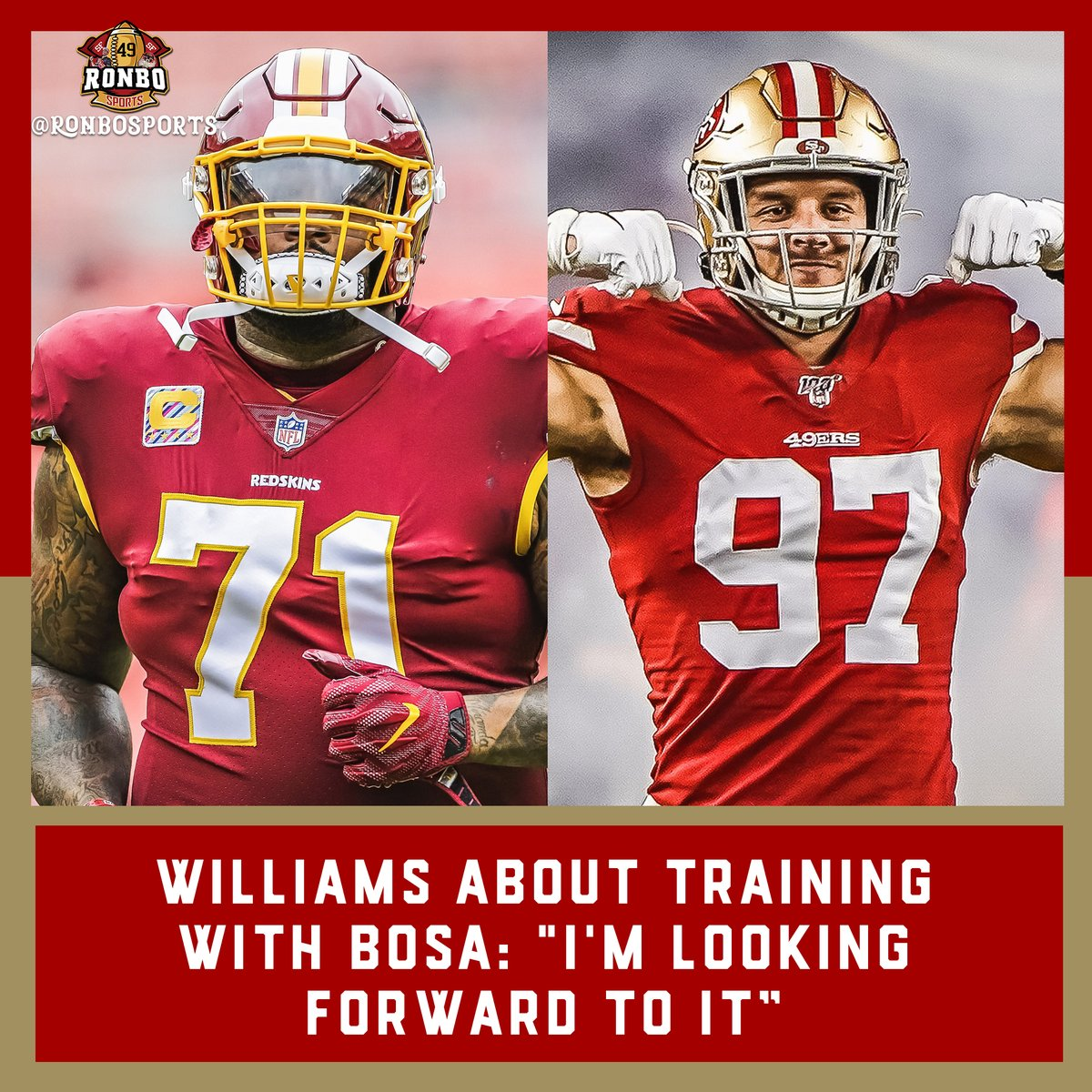 """""""Im looking forward to it, When I looked for a team to go to, I looked at the opposite side of the ball to see who can I sharpen my iron on every day in practice… OT Trent Williams #49ers #Thelegendaryrevengetour 49erswebzone.com/articles/13713…"""