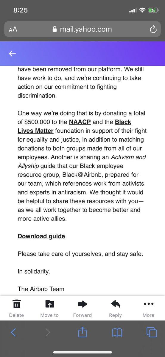 Thank you @Airbnb  !  @NAACP #BlackLivesMatter #airbnb https://t.co/DzKnnEBRtn