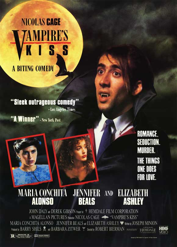 Released June 2, 1989(limited). #VampiresKiss #JenniferBeals #NicolasCage  #comedy #horrorpic.twitter.com/vrqZDhr36N