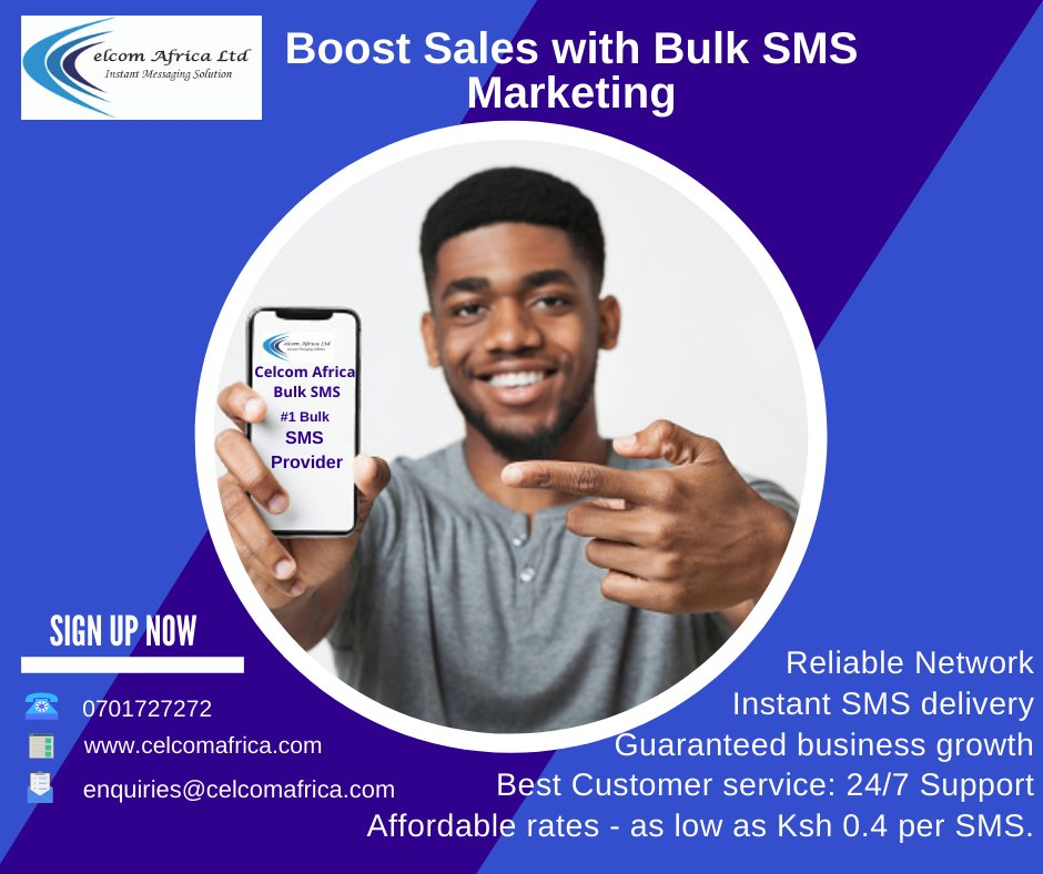 Keep it simple, make it easy with Kenyans #1 leading bulk SMS service solutions. Get unlimited validity when you buy bulk sms at Celcom Africa Bulk Sms. Contact:-0701727272 Visit:- https:// celcomafrica.com/bulk-sms       #bulksmskenya #SMSmarketing <br>http://pic.twitter.com/UPnERvb5xj