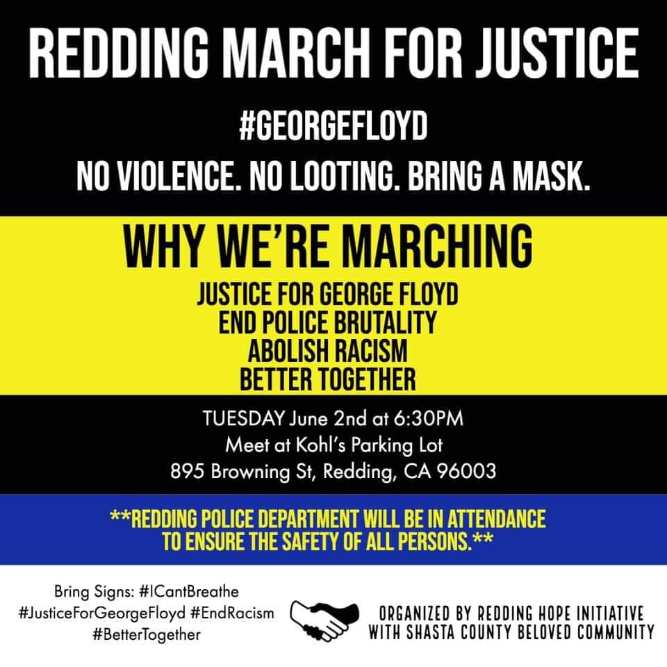 Plz RT and Join Us #Redding #Protest March ! Tuesday June 2nd #JusticeForGeorgeFloyd #Action #GeorgeFloyd #GeorgeFloydProtests #California #Anonymous #Occupypic.twitter.com/udrNzhxw11