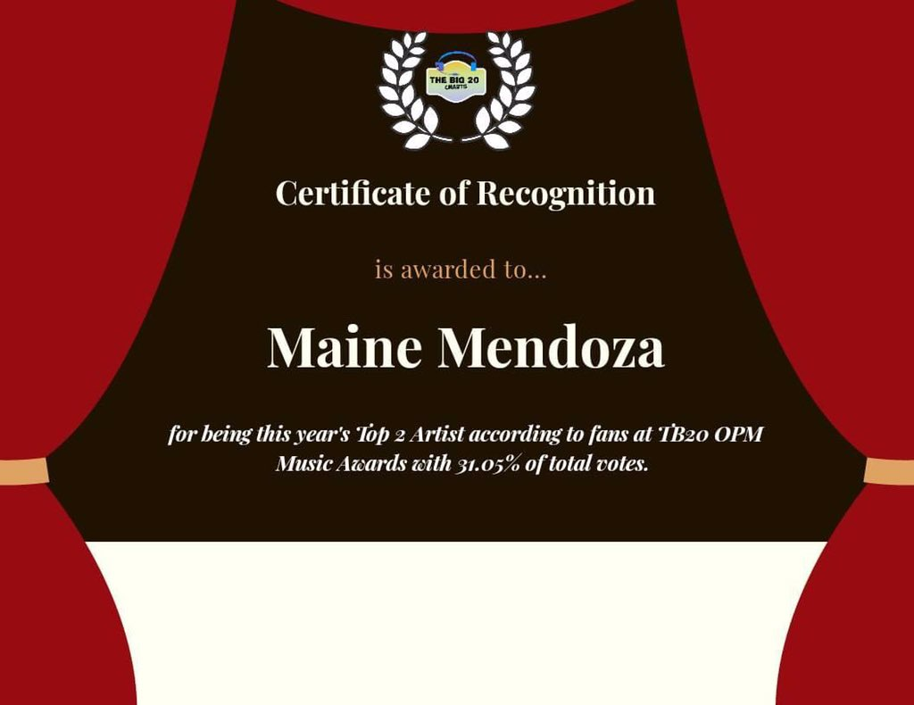 Congratulations @mainedcm for being the Top 2 Artist of the Year of the TB20 OPM Music Awards 🏆 @universalrecph   #MainePpopAwardsWinner  #MaineMendoza | @mainedcm https://t.co/AyjHq42qSr