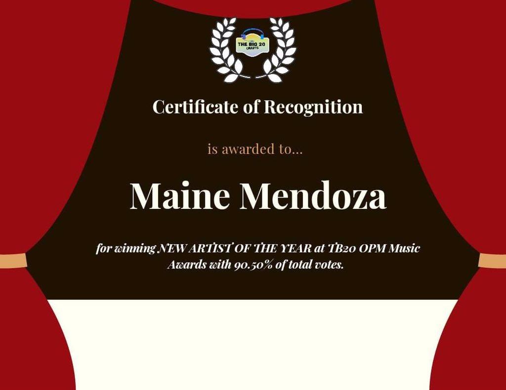 Congratulations @mainedcm for winning TB20 OPM Music Awards New Artist of the Year 🏆 @universalrecph   #MainePpopAwardsWinner  #MaineMendoza | @mainedcm https://t.co/zFjIuBjgxk