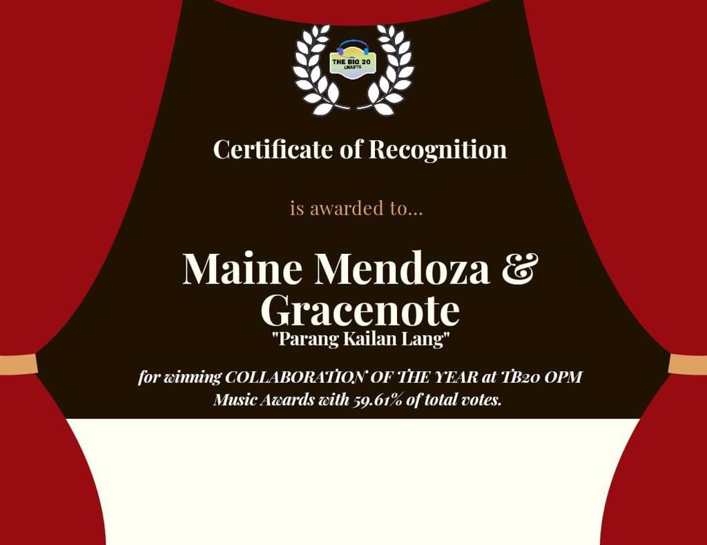Congratulations @mainedcm and @GracenotePH for winning Collaboration of the Year for Parang Kailan Lang at the TB20 OPM Music Awards 🏆 @universalrecph   #MainePpopAwardsWinner  #MaineMendoza | @mainedcm https://t.co/ftr5vnxQ01