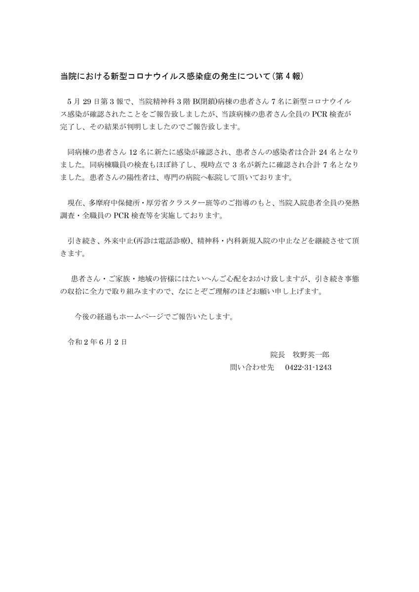 武蔵野 病院 クラスター